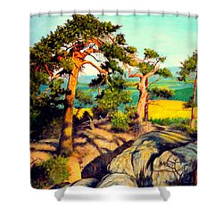 Pines On The Rocks Shower Curtain