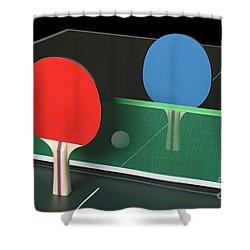Ping Pong Paddles On Table, Standing Upright Shower Curtain