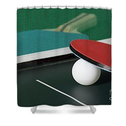 Ping Pong Paddles On Table With Net Shower Curtain