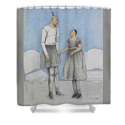 Pinhead Friends -- Portrait Of 2 Developmentally Disabled Men Shower Curtain