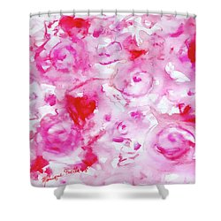 Pink Abstract Floral Shower Curtain