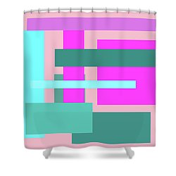Pink And Blue Blocks Abstract Shower Curtain