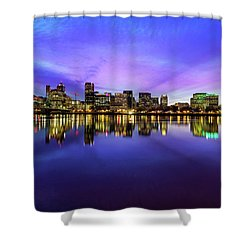 Pink And Blue Hue Evening Sky Over Portland Oregon Shower Curtain by David Gn