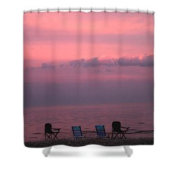 Pink And Deserted Shower Curtain by Karol Livote