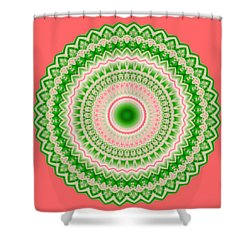 Pink And Green Mandala Fractal 002 Shower Curtain