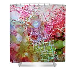 Pink And Green Patterns Shower Curtain