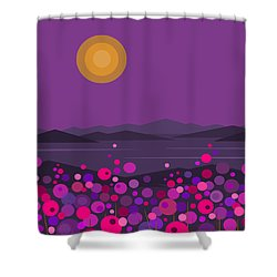 Pink And Purple Flowers Shower Curtain by Val Arie