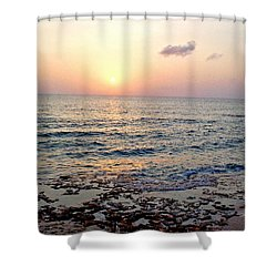 Pink And Purple Sunset Over Grand Cayman Shower Curtain by Amy McDaniel