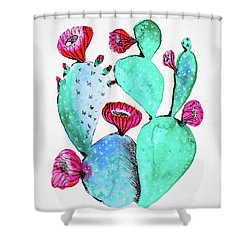 Pink And Teal Cactus Shower Curtain