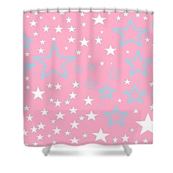 Pink And Turquoise Stars 1 Shower Curtain by Linda Velasquez