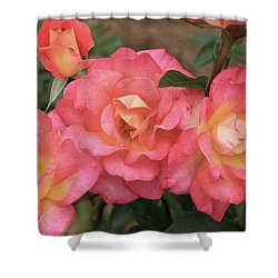 Pink And Yellow Shower Curtain by Dennis Baswell