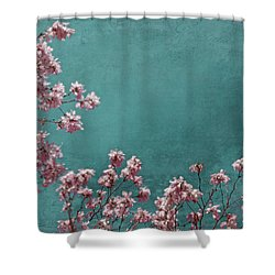 Pink Apple Blossoms On Teal Blue Green Sky Shower Curtain by Brooke T Ryan