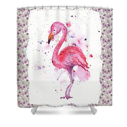 Shower Curtain featuring the painting Pink Baby Flamingo Watercolor by Irina Sztukowski