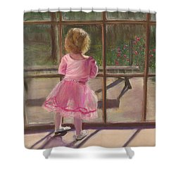 Pink Ballerina Shower Curtain by Kathy Wood