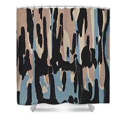 Pink Blue And Brown Drips Shower Curtain by Barbara Yearty