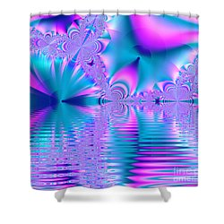 Pink, Blue And Turquoise Fractal Lake Shower Curtain