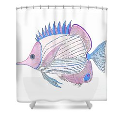Pink Blue Fish Shower Curtain by Stephanie Troxell