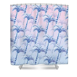 Pink Blue Palm Tree Grove Shower Curtain