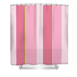Shower Curtain featuring the mixed media Pink Blush Stripe Pattern by Christina Rollo