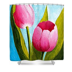 Shower Curtain featuring the painting Pink Bubblegum Tulip II by Phyllis Howard