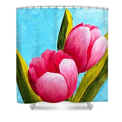 Shower Curtain featuring the painting Pink Bubblegum Tulips I by Phyllis Howard
