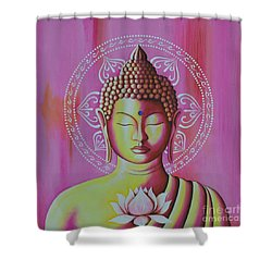 Shower Curtain featuring the painting Pink Buddha by Joseph Sonday