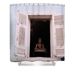 Shower Curtain featuring the photograph Pink Buddha by Rasma Bertz