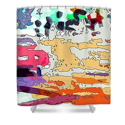 Pink Car Urban Graffiti Shower Curtain by Ginette Callaway
