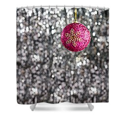 Shower Curtain featuring the photograph Pink Christmas Bauble by Ulrich Schade