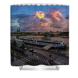 Pink Clouds Above The Danube, Budapest Shower Curtain