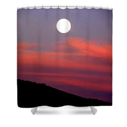 Pink Clouds With Moon Shower Curtain by Joseph Frank Baraba
