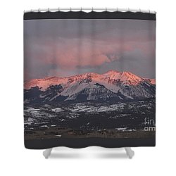 Pink Colorado Rocky Mountain Sunset Shower Curtain