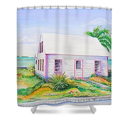 Shower Curtain featuring the painting Pink Cottage by Patricia Piffath