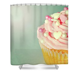 Shower Curtain featuring the photograph Pink Cupcake With Lovehearts by Lyn Randle