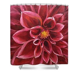 Shower Curtain featuring the painting Pink Dahlia by Pam Talley