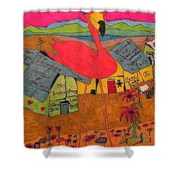 Pink Flamingo Camp Shower Curtain