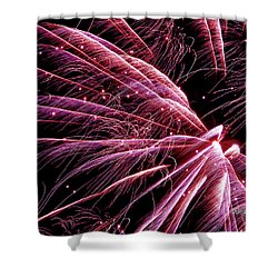 Shower Curtain featuring the photograph Pink Flamingo Fireworks #0710 by Barbara Tristan