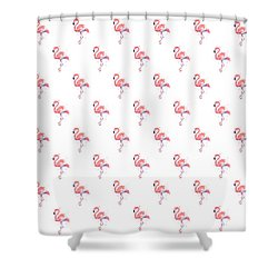 Pink Flamingo Watercolor Pattern Shower Curtain