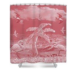 Pink Flamingo's Palms Shower Curtain