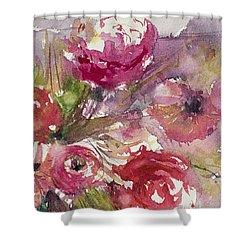 Pink Floral Impressions Shower Curtain by Judith Levins