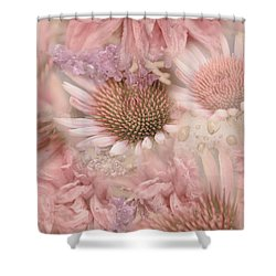 Pink Floral Montage Shower Curtain