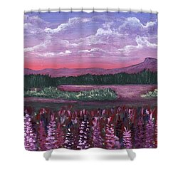 Shower Curtain featuring the painting Pink Flower Field by Anastasiya Malakhova