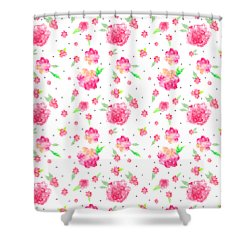 Pink Flower Pattern Shower Curtain