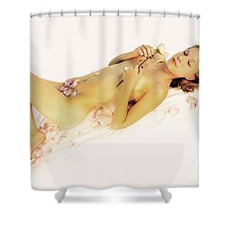 Pink Flower Petals Shower Curtain