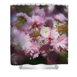Shower Curtain featuring the photograph Pink Flowering Almond by Donna Kennedy