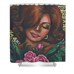 Shower Curtain featuring the painting Pink Flowers by Alga Washington