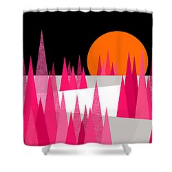 Pink Forest Shower Curtain by Val Arie
