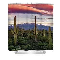 Shower Curtain featuring the photograph Pink Four Peaks Sunset  by Saija Lehtonen