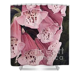 Shower Curtain featuring the painting Pink Foxglove by Laurie Rohner