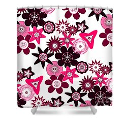 Pink Funky Flowers Shower Curtain by Methune Hively